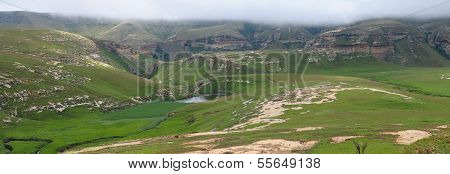 Panorama Showing The Sentinel And Langtoon Dam In The Golden Gate Highlands National Park
