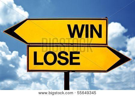 Sieg verlieren Lage, gegensätzlichen Vorzeichen