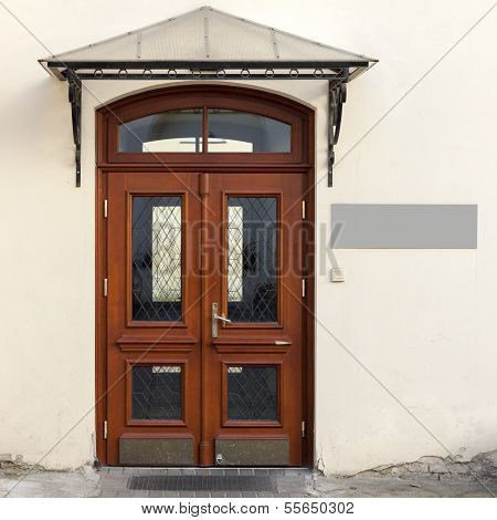 Wooden Doors With Signage