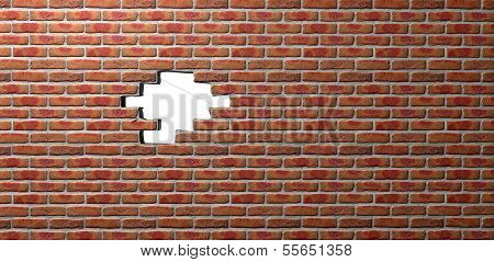 Face Brick Wall With Hole