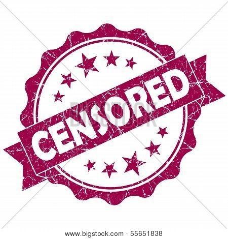 Censored Pink Vintage Round Grunge Seal Isolated On White Background