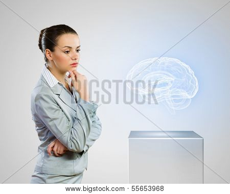 Image of scientist looking at media icon. Neurology
