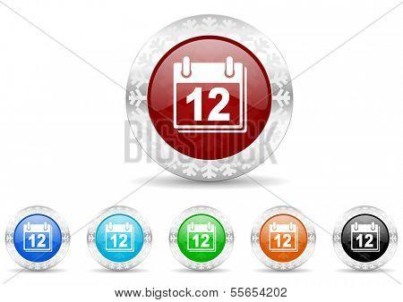 calendar icon christmas set