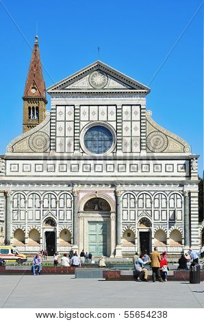FLORENCE, ITALY - APRIL 15: Facade of the Basilica of Santa Maria Novella on April 15, 2013 in Florence, Italy. The church contains many art treasures and famous frescoes by masters of Renaissance