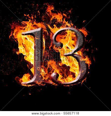 Numbers And Symbols On Fire - 13