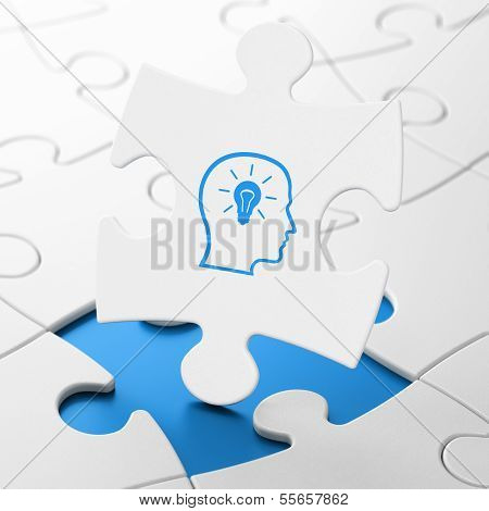 Education concept: Head With Lightbulb on puzzle background