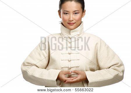 Beautiful Asian Woman Make Kung Fu Gesture