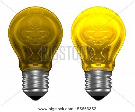 Yellow Light Bulbs, One Glowing, Another Not