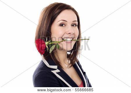 Girl Holding Rose Between Her Teeth