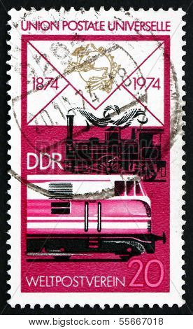 Postage Stamp Gdr 1974 Old Steam Locomotive And Modern Diesel