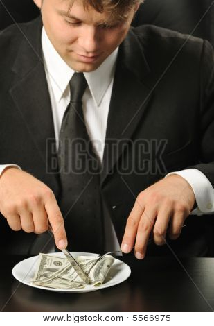 The Businessman Having Dinner Dollars