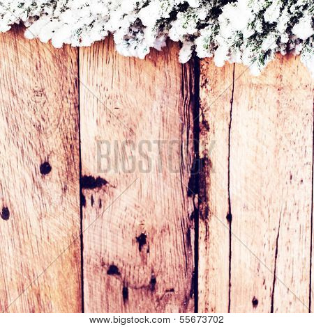 Vintage Christmas Card With Fir Tree Covered With Snow On Wooden Board. Christmas Rustic Wooden Back