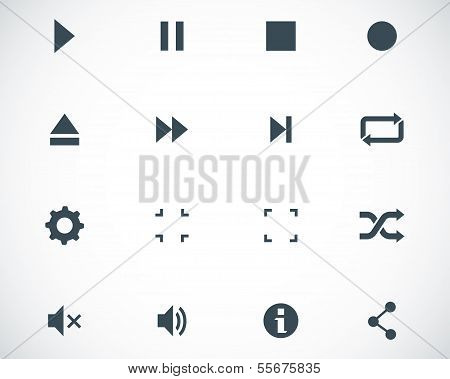 Vector schwarz Media Player Icons-set