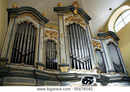 LITOVEL, CZECH REPUBLIC CIRCA MARCH 2011 - The organ in the church of Saint Mark