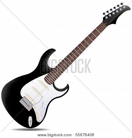 The black semi-hollow electric guitar