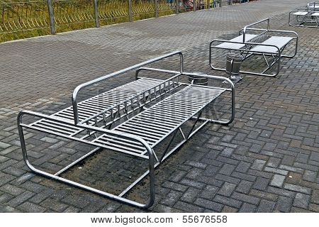 Metal Benches In The Style Of Hi-tech
