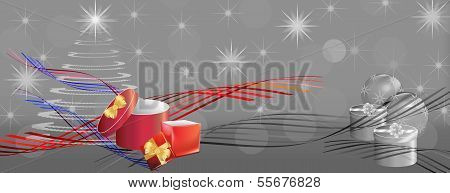 Grey Christmas Banner With Color Ribbons And Gift Boxes