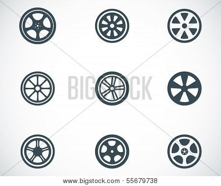 Vector black wheel disks icons set