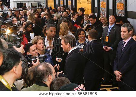 NEW YORK-DEC 17: Actor Leonardo DiCaprio (C) interviews at