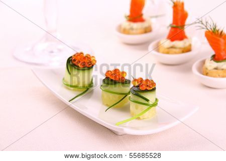 Red Caviar On Fresh Cucumber As Snack