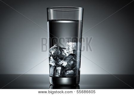 Glass Of Ice Cube Water
