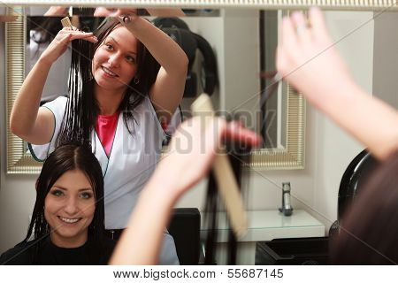 Hairstylist Cutting Hair Woman Client In Hairdressing Beauty Salon