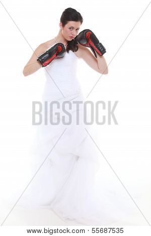 Emancipation Idea. Bride In Wedding Dress Boxing Gloves.