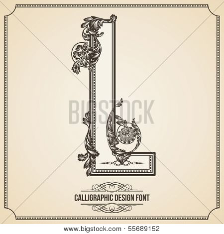 Calligraphic Design Font with Typographic Floral Elements for your Artworks. Nice for Page Decoration. Letter L