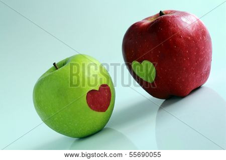 Apples Decorated By Hearts