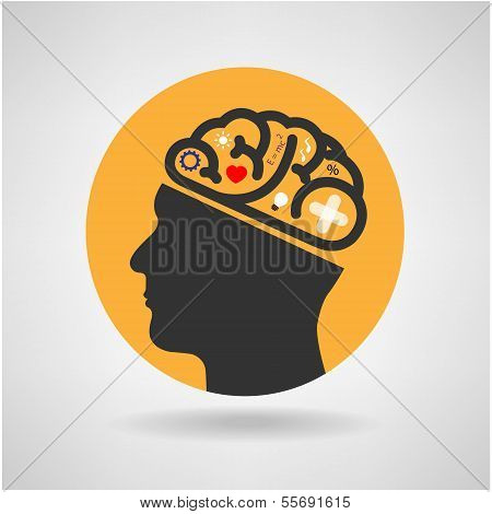 Creative Silhouette Head Brain Idea Concept Background