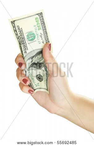 Dollar in hand isolated on white