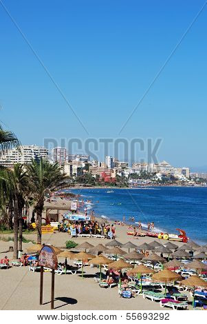 Busy beach, Benalmadena, Spain.