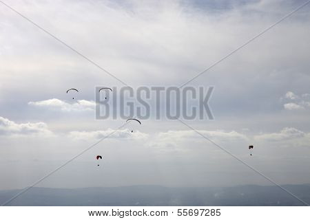 CALDELAS, PORTUGAL - OCTOBER 13: Paragliding Aboua Cup, in the north of Portugal, October 13, 2012, Caldelas, Portugal.