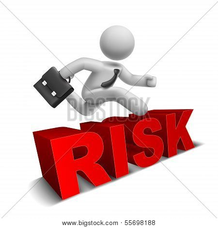 3D Businessman Jumping Over 'risk' Word