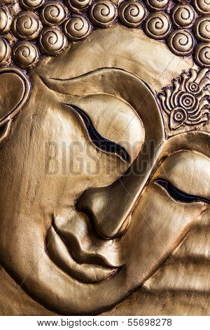 Lord Buddha's Face Wood Carving.