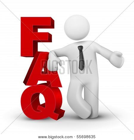 3D Business Man Presenting Word Faq