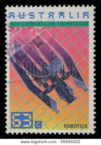 AUSTRALIA - CIRCA 1987: A Stamp printed in AUSTRALIA shows Robotics, Achievements Technology series, circa 1987