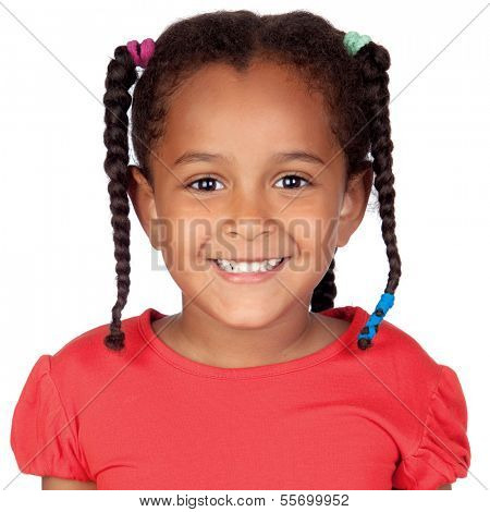 Happy little african girl isolated on a white background