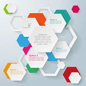 picture of honeycomb  - Infographic design with hexagons on the grey background - JPG