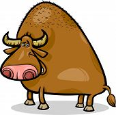 stock photo of aurochs  - Cartoon Illustration of Funny Bull or Buffalo - JPG