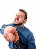 foto of angry man  - Crazed business man pointing to the camera - JPG