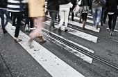 image of zebra crossing  - people crossing a crossroad or zebra crossing - JPG