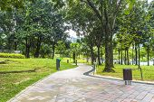 image of klcc  - Jogging track at clean garden at morning scene - JPG