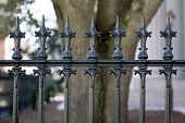 image of wrought iron  - wrought iron fence detail - JPG