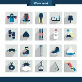 stock photo of knapsack  - Winter sport icon - JPG