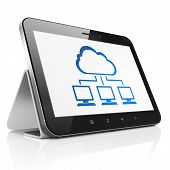 Cloud technology concept: Cloud Network on tablet pc computer