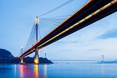 stock photo of tsing ma bridge  - Suspension bridge in Hong Kong at night - JPG