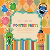 stock photo of ogre  - Vector Hipster monster party invitation card design - JPG