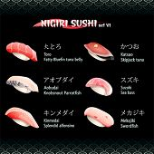 Nigiri sushi with tuna, sea bass, alfonsino, swordfish and parrotfish