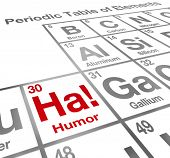 stock photo of laugh out loud  - Ha Element of Humor Periodic Table Funny Laughter - JPG